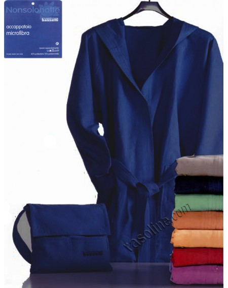 Accappatoio in Microfibra + Borsa Colore Blu Bassetti Nonsolonotte