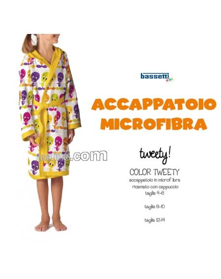 Accappatoio Tweety in Microfibra Tg. 4-6 , 8-10, 12-14 Anni