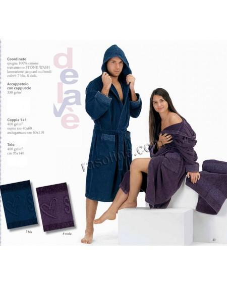 Accappatoio Cappuccio Sweet Years Delave' Caleffi Colore Blu