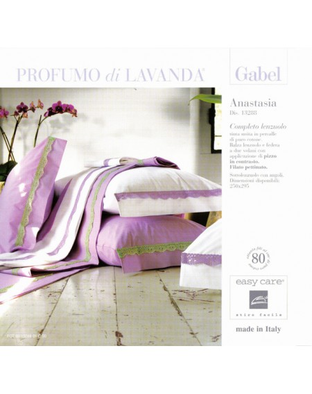 Completo Lenzuola Matrimoniale Anastasia Lilla Gabel - Profumo Di Lavanda