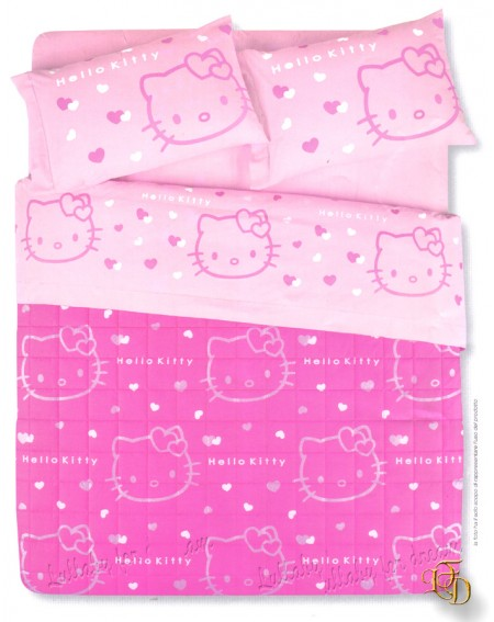 Completo Lenzuola una Piazza Hello Kitty Out Line Cotone 100%
