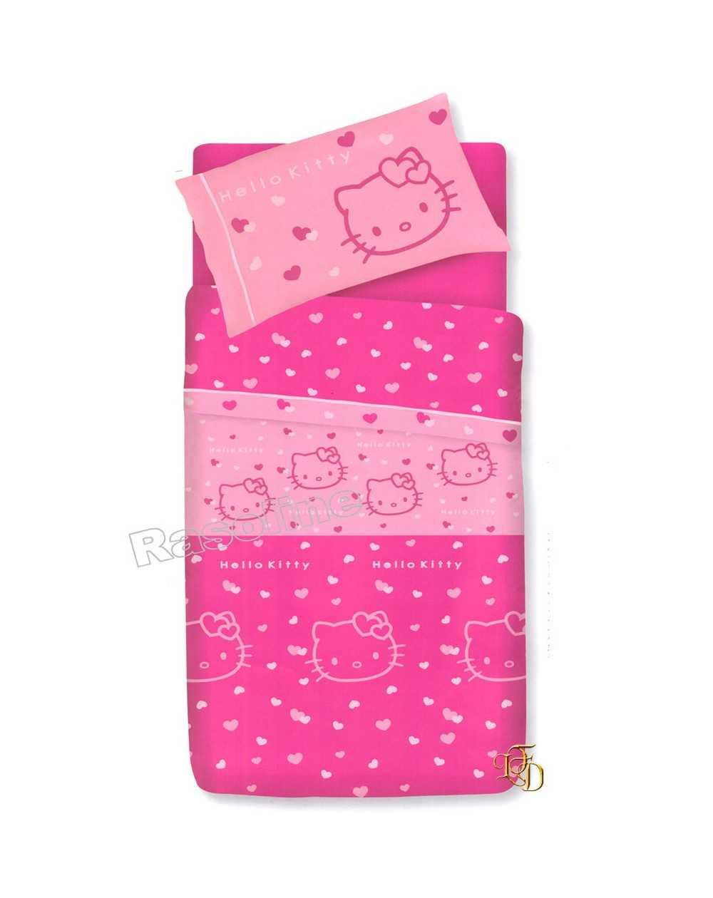 Copriletto Trapuntato Hello Kitty.Set Lenzuola Copriletto Una Piazza Hello Kitty Gabel