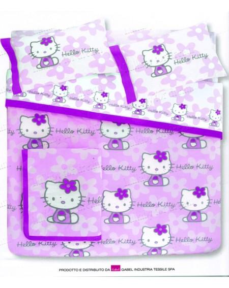 Set Copripiumino Lenzuolo Sotto Federa Hello Kitty Flowers Lilla Cotone 100%