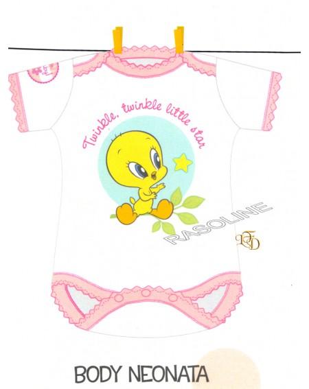 Body Neonato Tweety Baby Titti 6-12-24 Mesi Bassetti