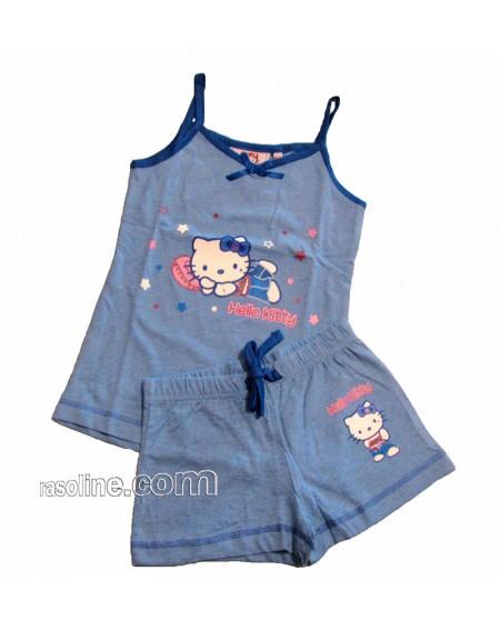 Schlafanzug Hello Kitty Da 4-11Jahr Jeans Sanrio Gabel Made In Italy