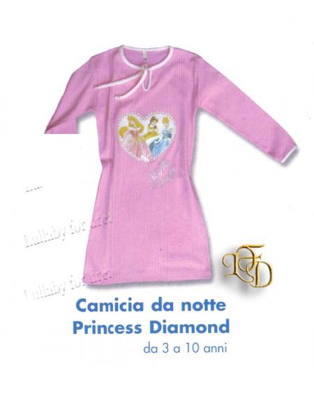 Pigiama Camicia Da Notte Principesse Diamond Caleffi Da 7/8 E 9/10 Anni