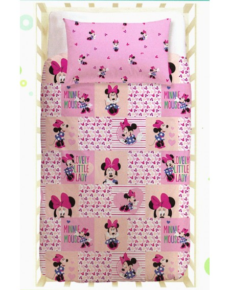 Duvet cover - Fitted sheet with elasticated corner Quality cotton bed linen for baby. MINNIE
