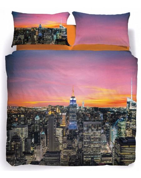 Duvet Set - a fitted sheet, duvet cover New York Sunset