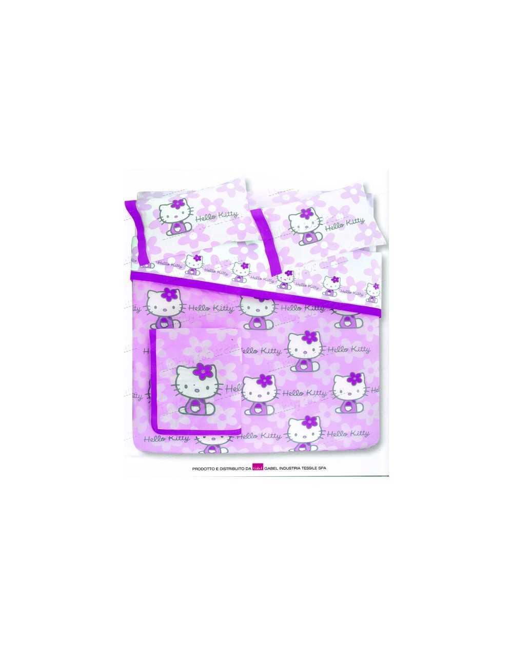 Lilla Completo Copripiumino Lenzuola Matrimoniale Hello Kitty Flowers - Rasoline L.F.D. Home