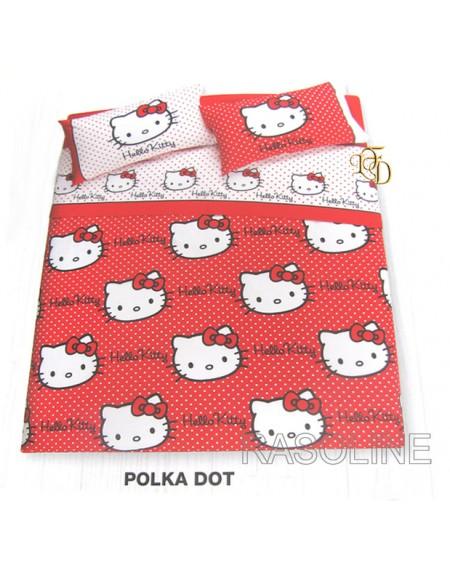 Completo Copripiumino Lenzuola Matrimoniale Hello Kitty Polka Dot