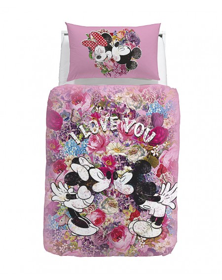 Minnie Mouse Love Panel Duvet Cover and Pillowcase Set