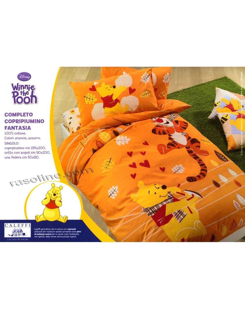 Copripiumino Singolo Winnie The Pooh.Copripiumino Completo Letto Singolo Winnie The Pooh Fantasia Arancio