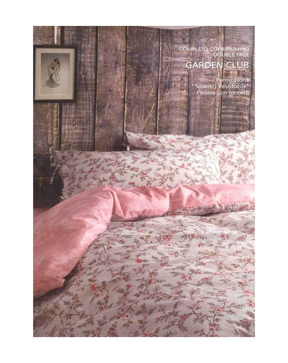 Completo Copripiumino Letto Matrimoniale Garden club rosa By Zucchi