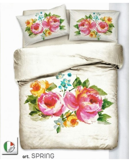 Spring Satin Super King Duvet Cover, Fitted Sheet and 2 Pillowcases Bedding Set