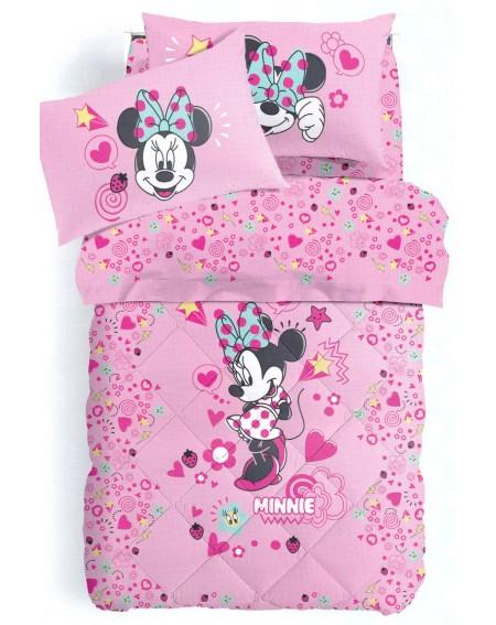 Parure de lit pour lit 1 personne Set Draps Minnie Style Caleffi