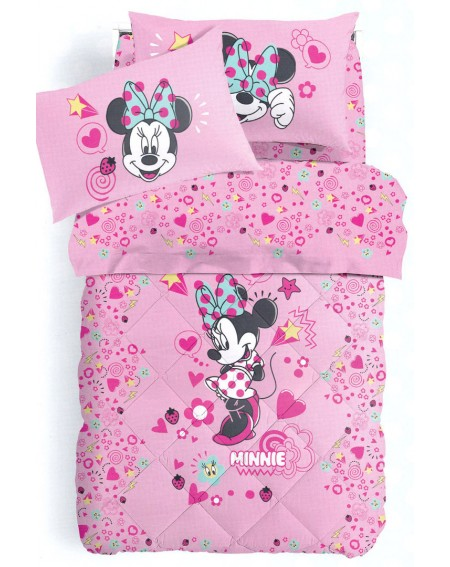 """Single Bed SET Flat sheet + fitted sheet + pillowcases Minnie """" Style """""""