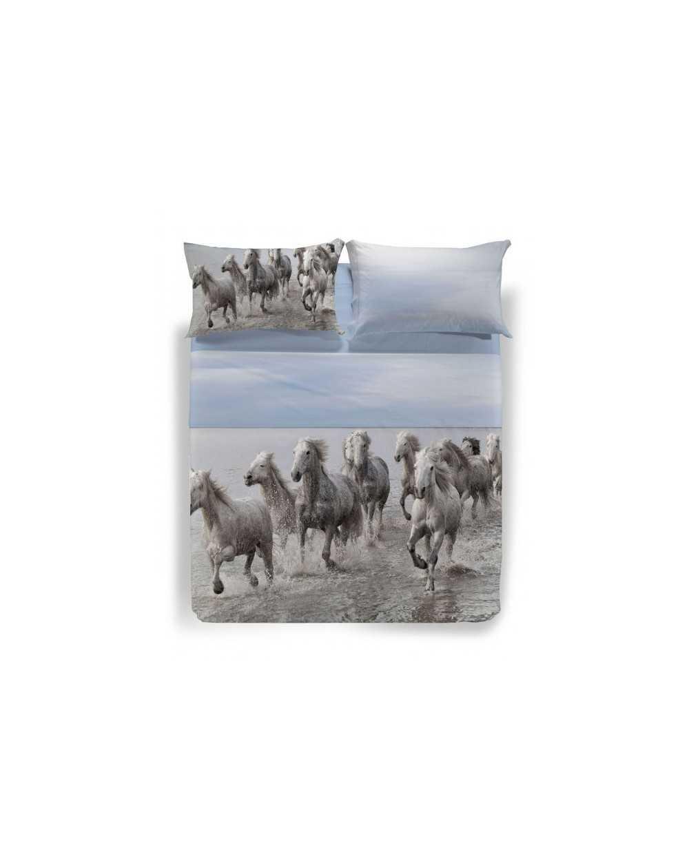Set Lenzuola Copriletto Una Piazza E Mezza Cavalli Wild Horses Caleffi