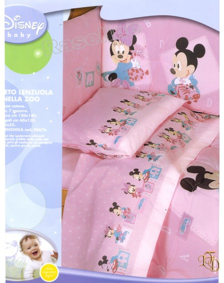 Flanella Completo Lenzuola Per Lettino Minnie Baby Disney