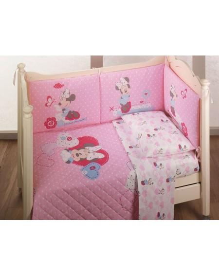Flanella Completo Lenzuola Per Lettino Minnie Baby Disney Colore Rosa Tessuto Flanella Caldo Cotone