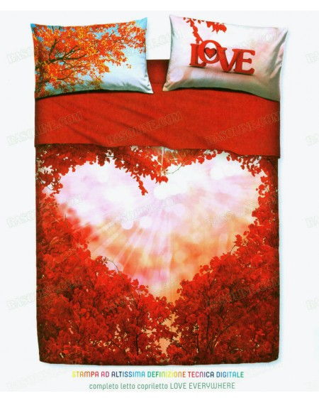 Completo Lenzuola Letto Matrimoniale Love everywhere By Bassetti - Rosso