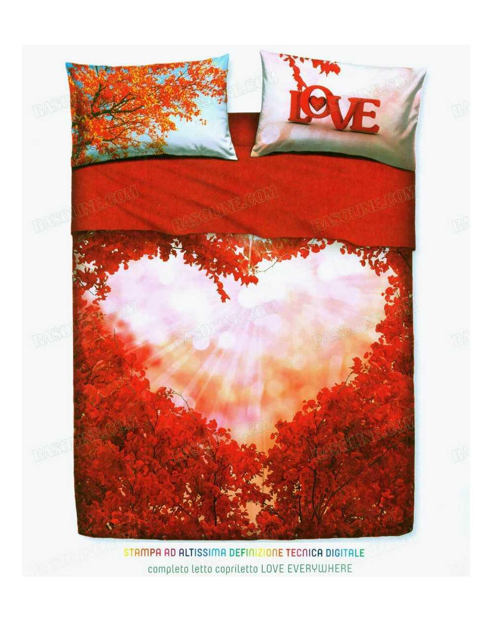 Letto Completo Matrimoniale.Completo Lenzuola Letto Matrimoniale Love Everywhere By Bassetti Rosso