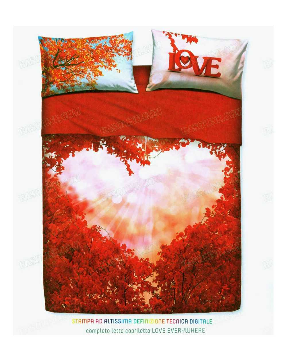 Completo Lenzuola Letto Matrimoniale Love Everywhere By Bassetti Rosso