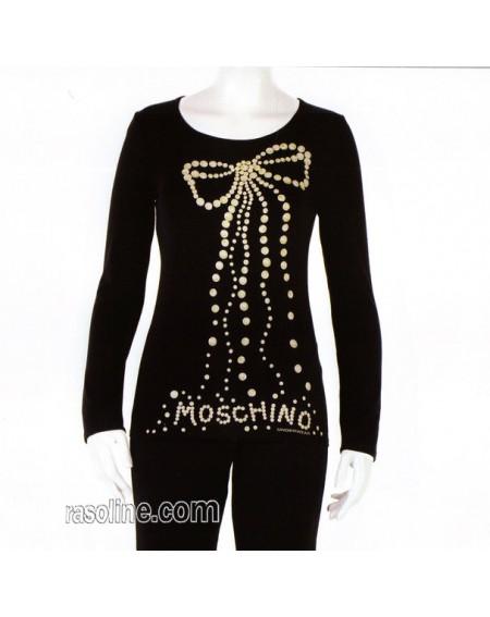 Maglia Moschino Underwear Manica Lunga Farbe Schwarz Viscose