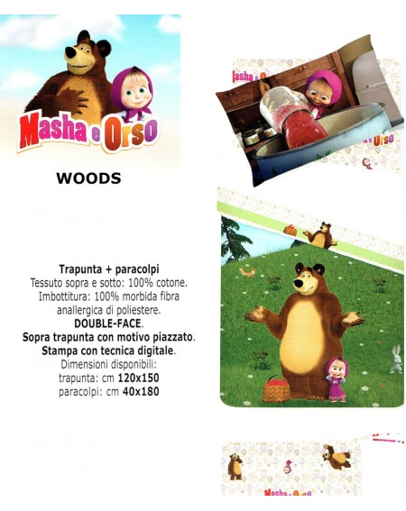 Comforter and bumper for your baby's bed Masha and the Bear WOODS