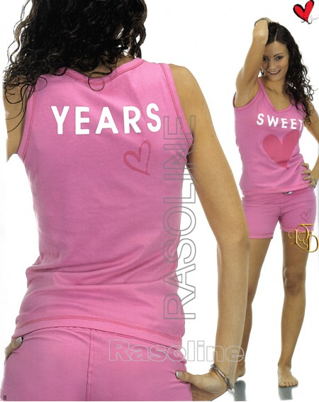 Pigiama Corto Tuta Donna Sweet Years Fuxia Caleffi