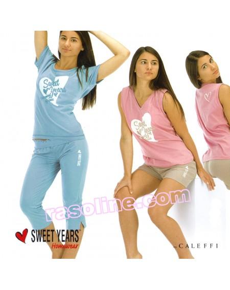 Pigiama Pinocchietto  Manica corta  Pantaloni pinocchietto  Tuta  SWEET YEARS  in Jersey stampato  c