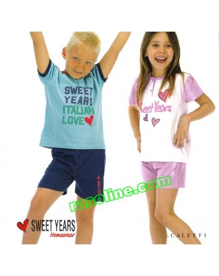 Pigiama Corto Tuta Bambina Sweet Years Caleffi  Taglie Da 3 A 14 Anni