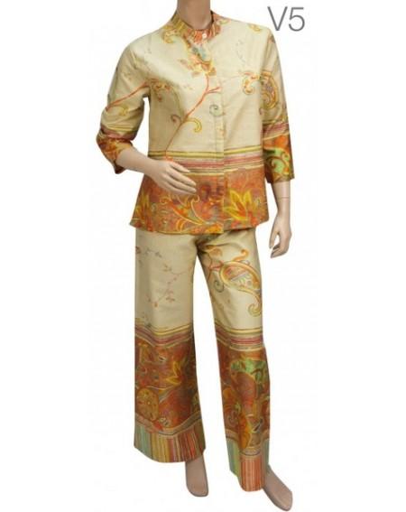 Schlafanzug in Satin reine Baumwolle Misty Linea Granfoulard