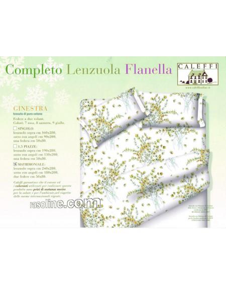 """Completo Lenzuola Letto Matrimoniale """" Ginestra"""" Colore Giallo Fior Di Flanella Caleffi"""