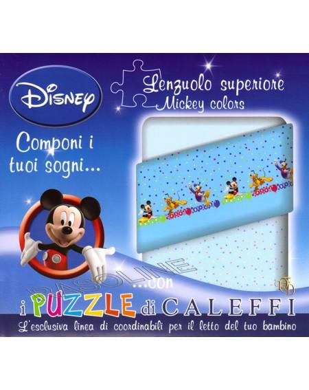 Lenzuolo Sopra Topolino - Mickey Colors  - Esclusiva Linea Puzzle Di Caleffi- Colore Azzurro
