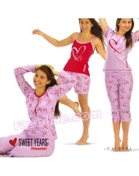 Pigiama Lungo  Manica Lunga  Pantaloni Lunghi  Tuta  Sweet Years  In Jersey Stampato  M - L