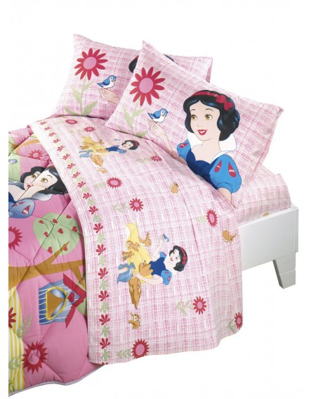 SET Flat sheet, fitted sheet, pillowcase Snow White and the Seven Dwarfs Disney