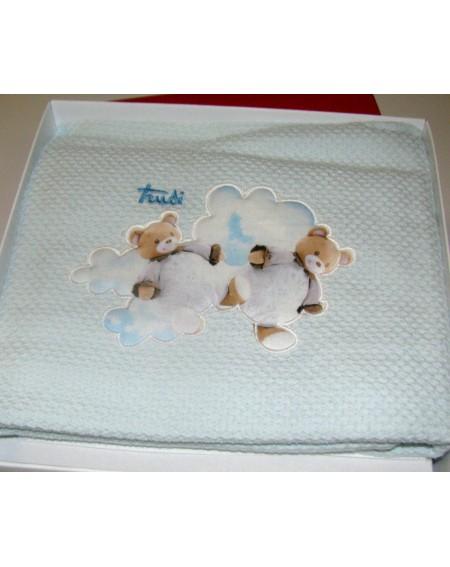 Garnitur 4 Pezzi Trudi Cremino Gabel Baby Baumwolle 100% Farbe Celeste