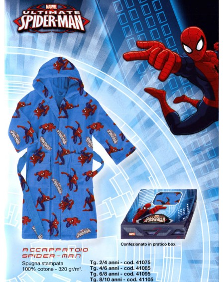 Accappatoio con Cappuccio e Tasche Spiderman Blu Uomo-Ragno Caleffi