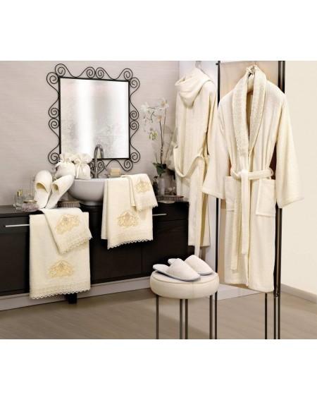 Biancheria da bagno: Set coordinato di accappatoi,asciugamani,pantofole e manopole 14 pezzi