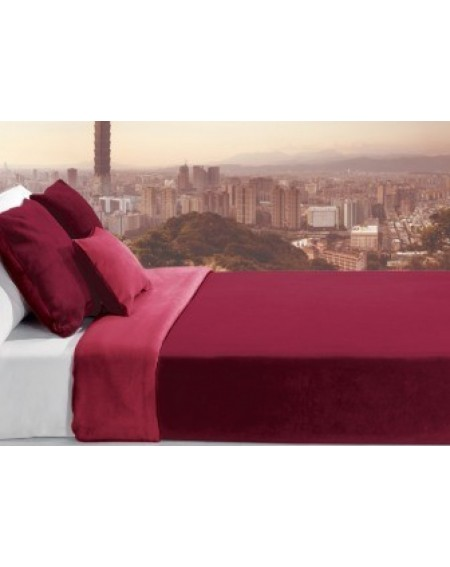 2-coloured fleece blanket red Trendy