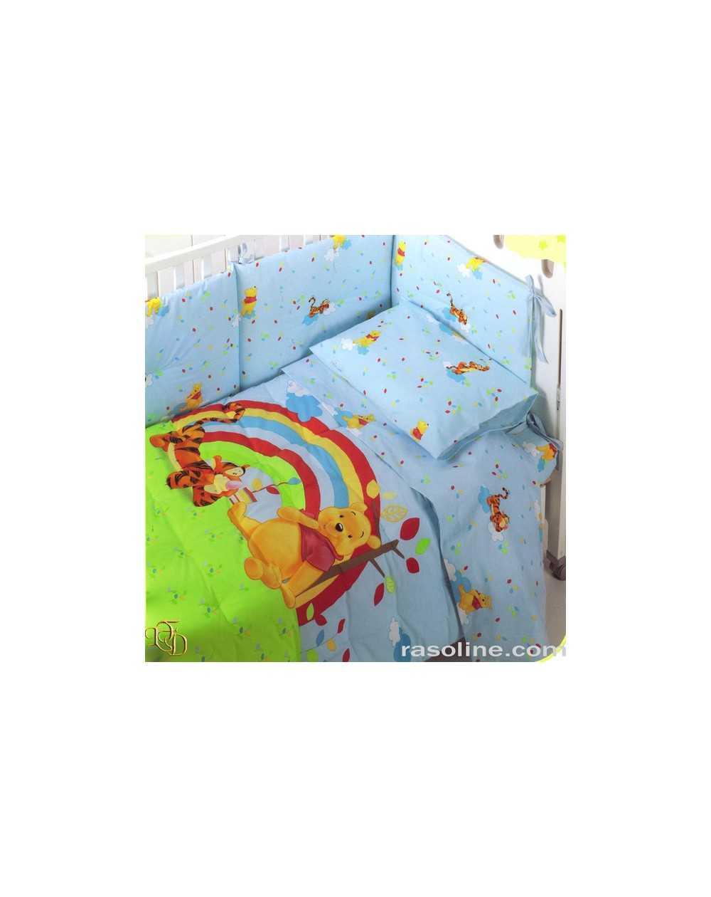 Trapunta Lettino Winnie The Pooh.Trapunta Paracolpi Per Lettino Winnie The Pooh Relax Caleffi In Azzurro Giallino E Lilla