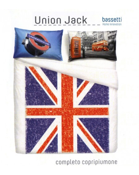 Duvet Set cover a fitted sheet and two pillow cases Union Jack BY BASSETTI