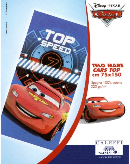Toalla de playa Cars Top Speed 75x 150 cm CALEFFI