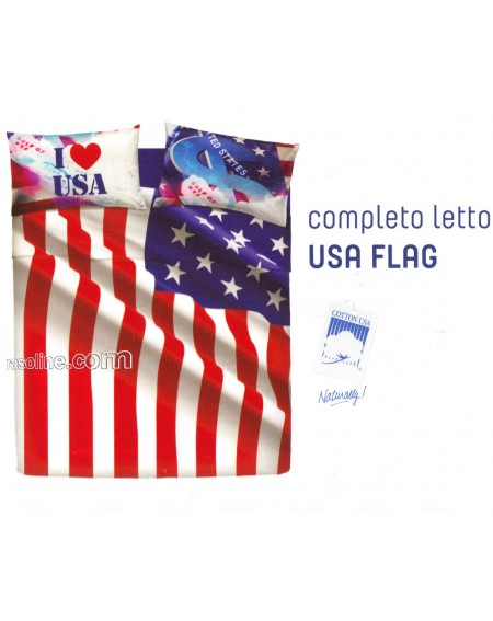 SHEET SET DOUBLE BED AMERICAN FLAG BASSETTI