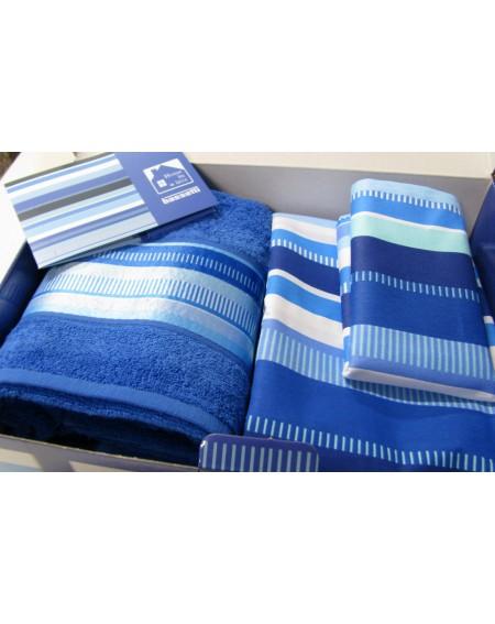 Parure letto + Set spugna + Set 2 tovagliette + Profumatore HOME in a BOX blu