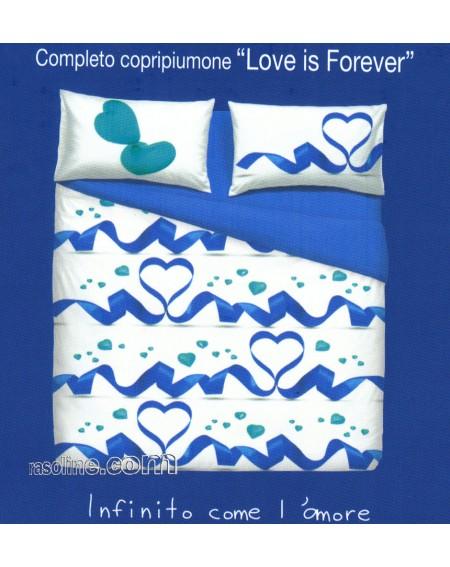 HOUSSE DE COUETTE  COMPLETO COPRIPIUMINO LETTO MATRIMONIALE LOVE IS FOREVER BY BASSETTI