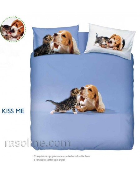 Bettbezug + Bettlaken Kiss Me Azzurro Bassetti