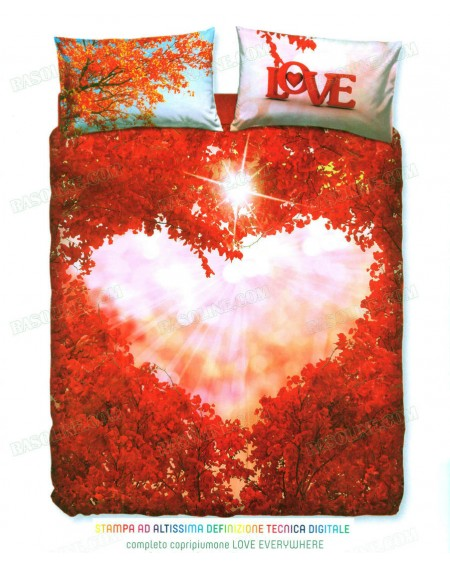 Completo Copripiumino Letto Matrimoniale Love everywhere By Bassetti