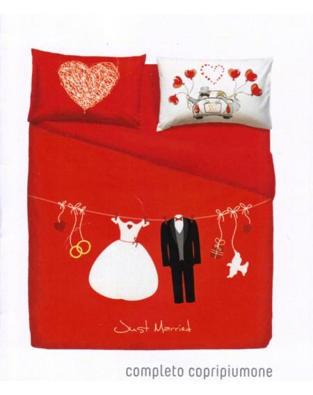 Completo Copripiumino Lenzuola Matrimoniale Love Is a Couple Rosso By Bassetti