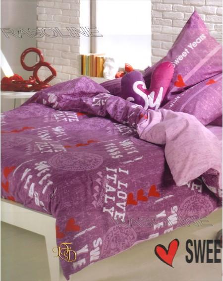 Completo Lenzuola Una Piazza Sweet Years For You Colore Orchidea - Lilla Caleffi